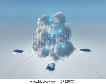 Cloud Computing Concept with Multiple Computer Mice and Cords leading into 3D Rendered Cloud