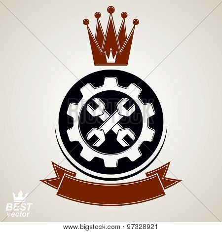 Manufacturing award idea illustration. Simple vector crossed spanners placed in industry cog wheel.