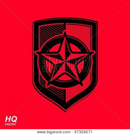 Vector shield with red pentagonal star, protection heraldic blazon. Design element.