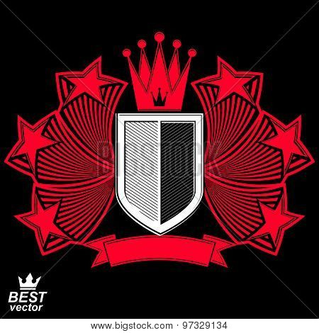 Royal stylized vector graphic symbol. Shield with 3d stars and decorative red ribbon. Clear eps8