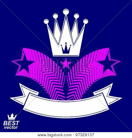 Imperial stylized vector symbol, monarch element. 3d crown with flying stars and curvy ribbon.