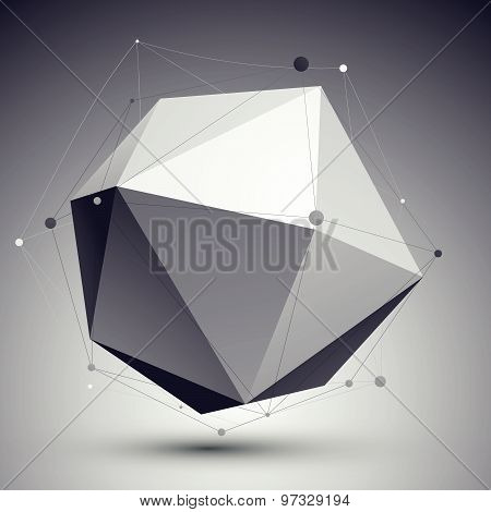 3D vector abstract tech illustration, perspective geometric unusual background with wireframe.