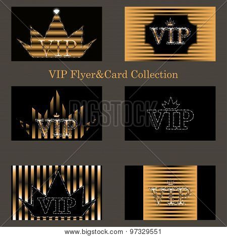 vector set of VIP cards with golden foil, diamonds