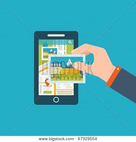 Mobile gps navigation on mobile phone with map.