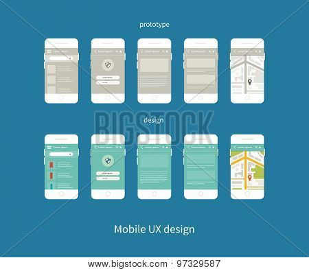 Flat vector collection of modern mobile phones with different user interface elements