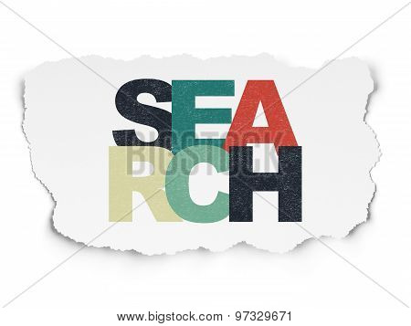 Web development concept: Search on Torn Paper background