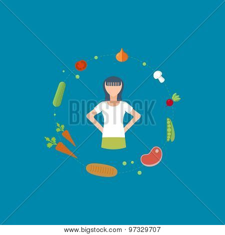 Vector flat set of fitness woman. Flat illustration of fitness elements.