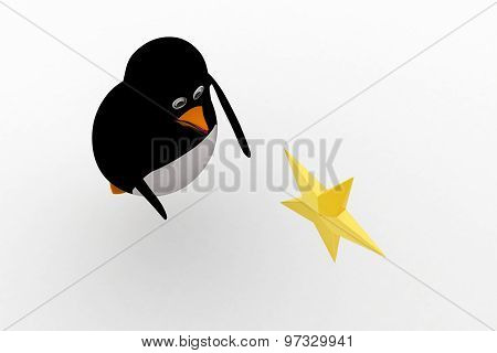 3D Penguin Flying And Try To Catch Golden Star Concept