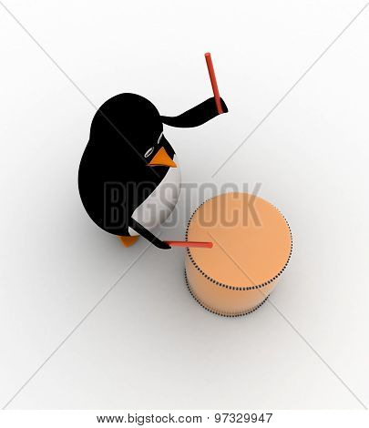 3D Penguin Play Drum With Drum Sticks Concept