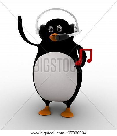 3D Penguin Listening Music On Headphone Concept