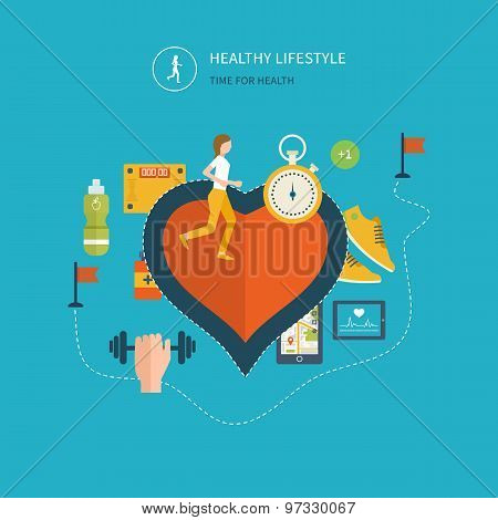 Modern flat vector icons of healthy lifestyle, fitness and physical activity. Healthy lifestyle conc