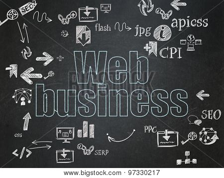 Web development concept: Web Business on School Board background