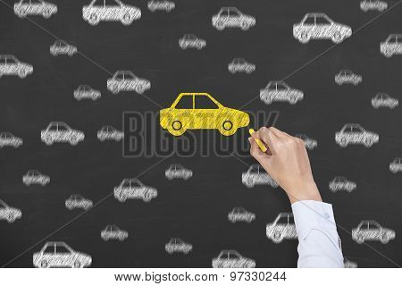 Car Insurance Drawing on Blackboard