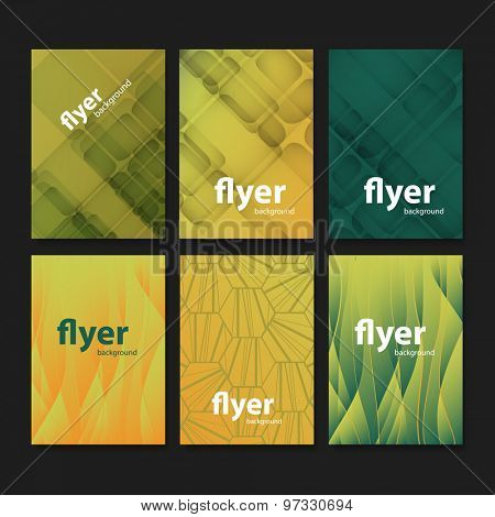 Set of Creative Card, Flyer or Cover Designs with Abstract Backgrounds