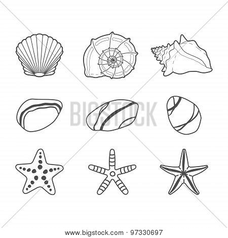 Sea shells, stars and stones vector icon set