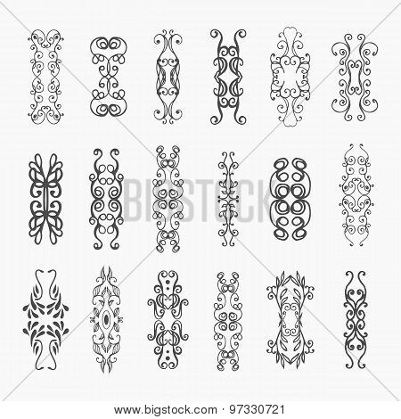Calligraphic vector design elements and page decoration
