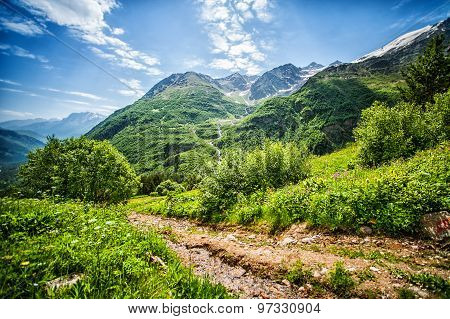 Big Caucasus Mountains. Path On Mount Cheget