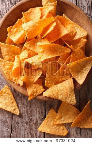 Nachos Corn Chips In The Bowl Close-up. Vertical Top View