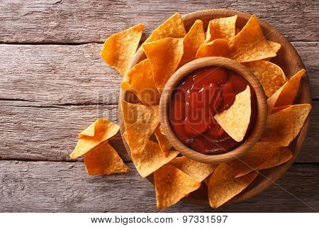 Nachos Corn Chips With Sauce On The Plate. Horizontal Top View