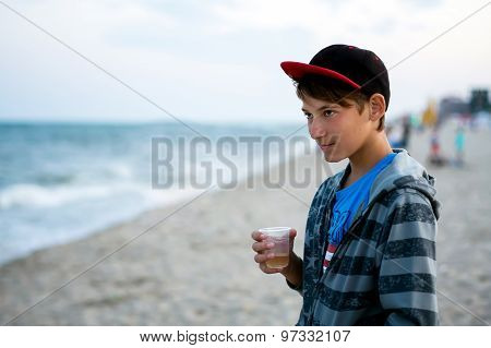 The Guy On The Beach Looking At The Sea