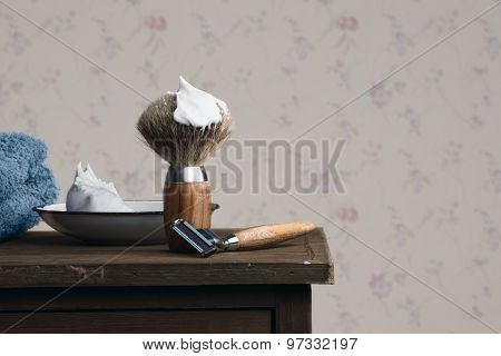 Vintage Wet Shaving Tools On A Wooden Table