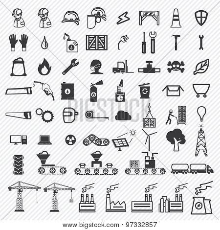 Industrial building factory and power plants icons set. illustration eps10