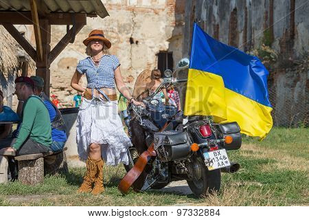 Girl Near A Motorcycle With A Flag Of Ukraine