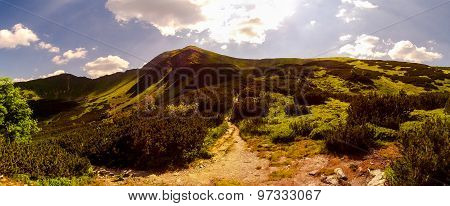 Panorama of the peak in the Tatra National Park