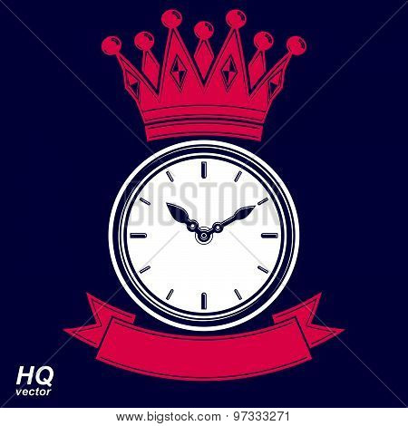 Time management award vector eps8 icon, wall clock with an hour hand on dial. Illustration