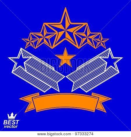 Vector detailed luxury 3d symbol. Monarch emblem, celebrative stars. Stylized brand icon, award