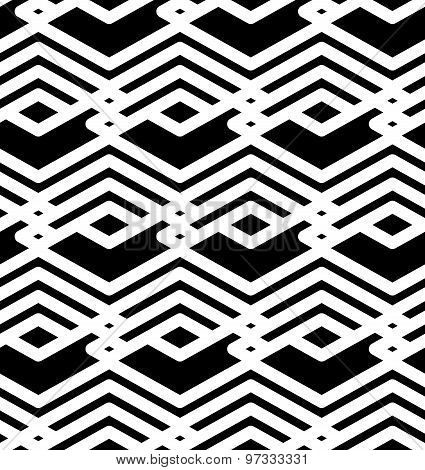 Black and white abstract ornament geometric seamless pattern. Symmetric monochrome vector textile