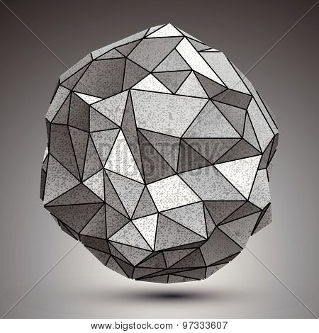 Deformed metallic object created from geometric figures, spatial design model.