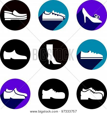 Shoes vector icon set.