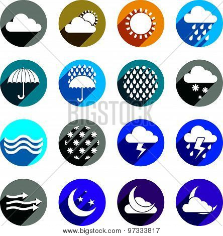 Weather icons vector set, simplistic symbols vector collections.