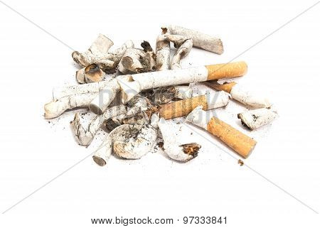 Many Cigarette Butts With Filter