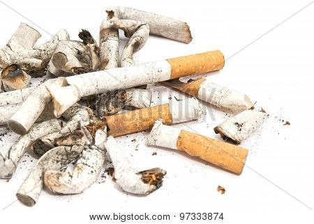 Heap Of Cigarette Butts Closeup