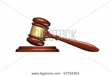 Wooden Gavel Isolated Over White