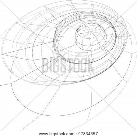 Modern technology black and white stylish background, abstract three-dimensional figure