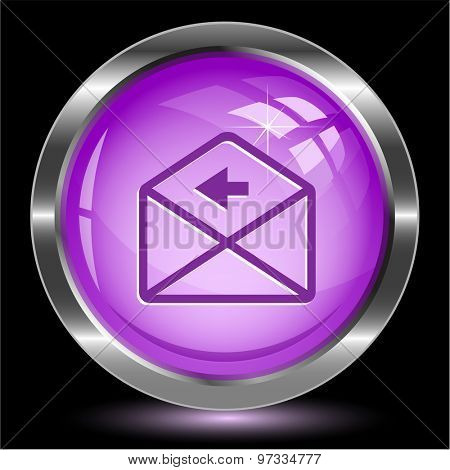 mail left arrow. Internet button. Vector illustration.