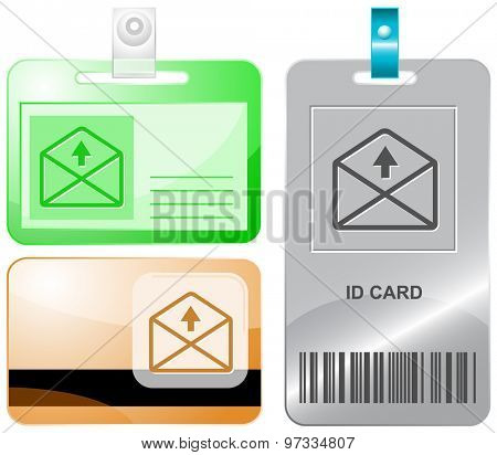 mail up arrow. Vector id cards.