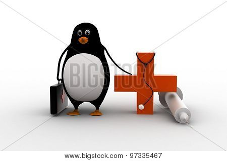 3D Penguin Doctor With Stethoscope, Injection And Medical Plus Symbol Concept