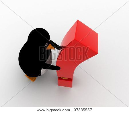 3D Penguin With Exclamation Mark Concept