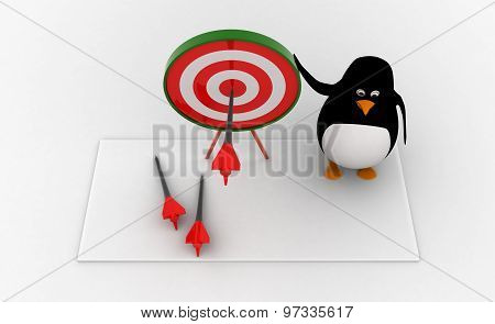 3D Penguin Present Target Board And Dart To Aim On It Concept
