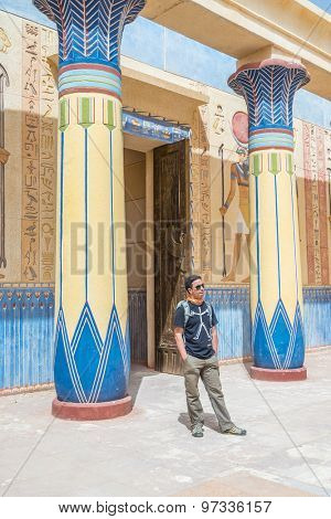 OUARZAZATE, MOROCCO - APRIL 10, 2015: Tourist visiting Atlas Film Studios, one of the largest movie studios in the world, in terms of land area. Several historical movies were shot here