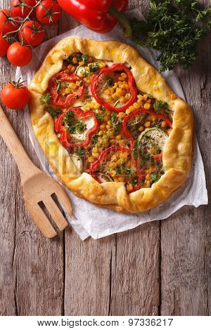 Homemade Fresh-baked Vegetable Pie And Ingredients. Vertical Top View