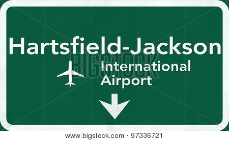 Atlanta Hartsfield Jackson Usa International Airport Highway Road Sign