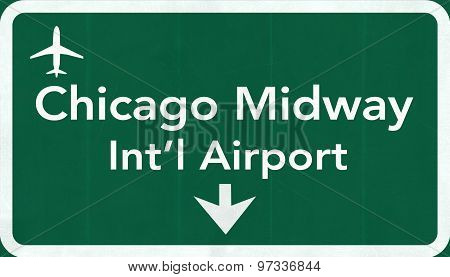 Chicago Midway Usa International Airport Highway Road Sign