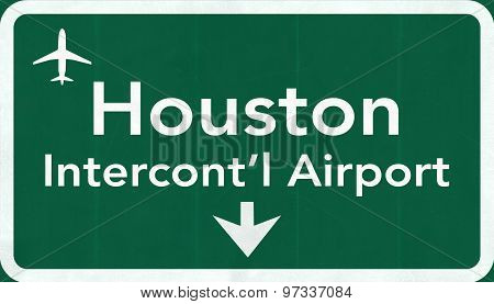 Houston George Bush Usa Intercontinental Airport Highway Road Sign