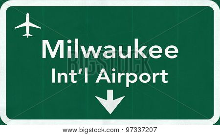 Milwaukee General Mitchell Usa International Airport Highway Road Sign