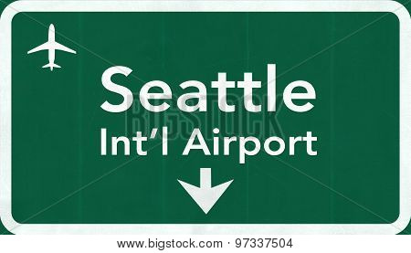 Seattle Tacoma Usa International Airport Highway Road Sign